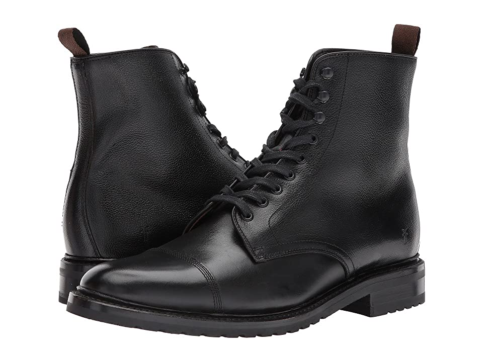 Frye Officer Lace-Up (Black Smooth Pull Up/Scotch Grain) Men