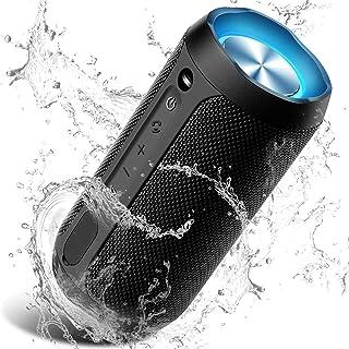 Bluetooth スピーカー IP67防水防塵 ブルートゥーススピーカー ワイヤレススピーカー スマホ対応 24W出力 20+時間連続再生 TWS二台接続可能 ステレオ 内蔵マイク ポータブル アウトドア(ブラック)