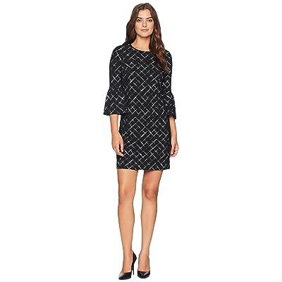 Calvin Klein Printed Ponte Bell Sleeve Dress CD8P986L (Black/Cream) Women