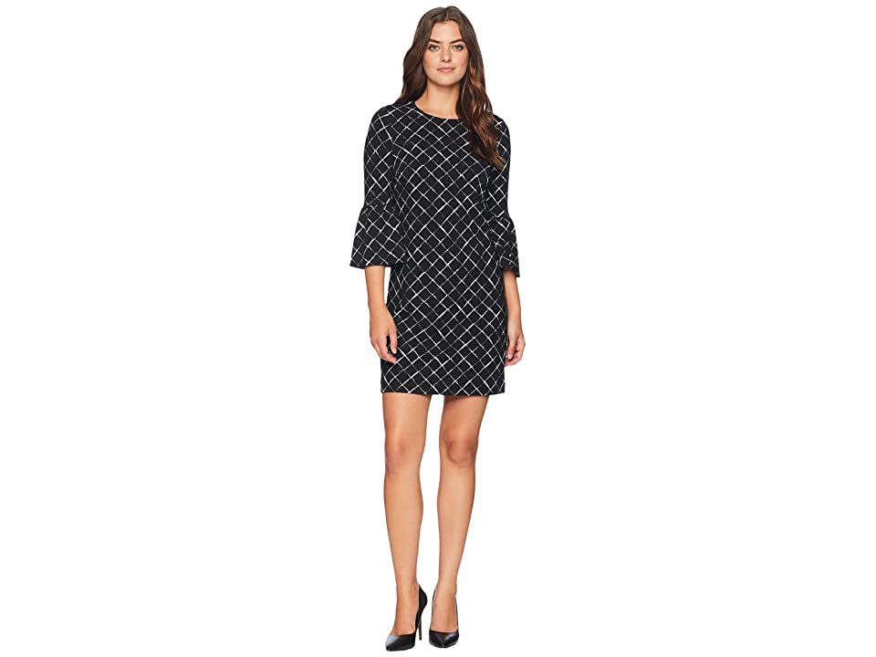 Calvin Klein Printed Ponte Bell Sleeve Dress CD8P986L (Black/Cream) Women