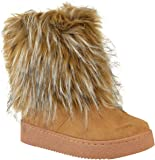 Fashion Thirsty Womens Ladies Flat Faux Fur Furry Winter Ankle Boots Low Heel Fluffy Casual Size