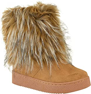 Womens Flat Faux Fur Furry Winter Ankle Boots Low Heel Fluffy Casual Size