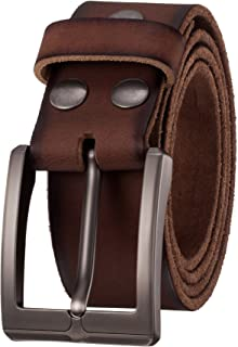 Men's Genuine Leather Casual Dress Belt with Single Prong Buckle (1.5