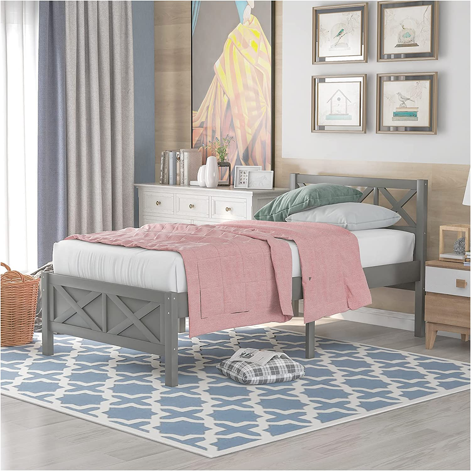 Wooden Max 43% OFF Platform Bed with Headboard Slat X-Shaped Special price Frame Wood Su