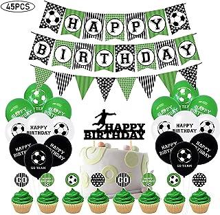 45 قطعة زينة بشكل كرة القدم للوازم الحفلات، لافتة عيد ميلاد بشكل كرة القدم، كرات تزيين للكعك، بالونات، رايات عيد ميلاد بشك...