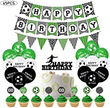 45pcs Football Soccer Birthday Decorations Party Supplies, Football Birthday Banner, Cake Toppers, Balloons, Football Birt...