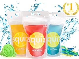 Premium Double Reinforced Leakproof Drink Pouches, Set of 50, 16 oz Drink Bags with Bonus 50 Straws, Funnel, and Recipe EBOOK by Squiz