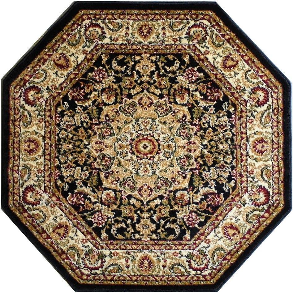 Bellagio Traditional Octagon Area Super special price Rug Design 3 5 401 Feet Rapid rise Black