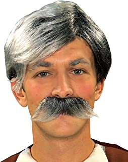 Gepetto Grey Wig And Moustache - Adult Std.