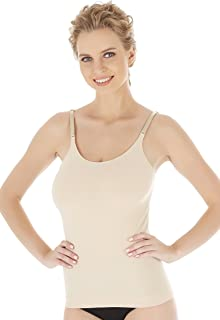 Seamless Bamboo Camisole Undershirt Tank Top with Adjustable Straps