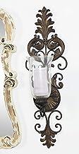 Deco 79 - Candelabro de Metal y Vidrio de Estilo Victoriano, 78,7 cm de Alto x 25,4 cm de Largo, Acabado en Bronce Texturi...