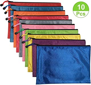 10Pcs Waterproof Zipper File Bags-A4 Size Oxford Office Filing Documents Storage Folder, Cosmetics Offices Supplies Travel Accessories Pouch- 10 Colors