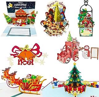 Christmas Cards,3D Pop Up Christmas Cards Showing Christmas Street Float Christmas Greeting Cards Handmade Holiday Xmas Ca...