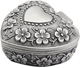 AVESON Classic Vintage Antique Heart Shape Jewelry Box Ring Small Trinket Storage Organizer Chest Christmas Gift Silver