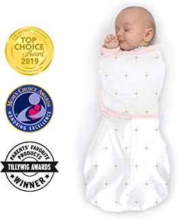 SwaddleDesigns Omni Swaddle Sack with Wrap and Arms Up Sleeves and Mitten Cuffs, Bella, Pink, Small, 0-3 Months