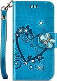 Jinghuash Kompatibel mit Huawei P30 Lite H�lle,Luxus Bling Gl�nzend Strass Diamant PU Leder Flip Case Brieftasche Ledertasche Liebe Blume Muster Klapph�lle Lederh�lle Handyh�lle-Blau