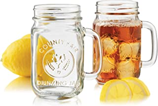 Libbey Country Fair 4-Piece Drinking Jar with Handle, 16.5-Ounce, Clear