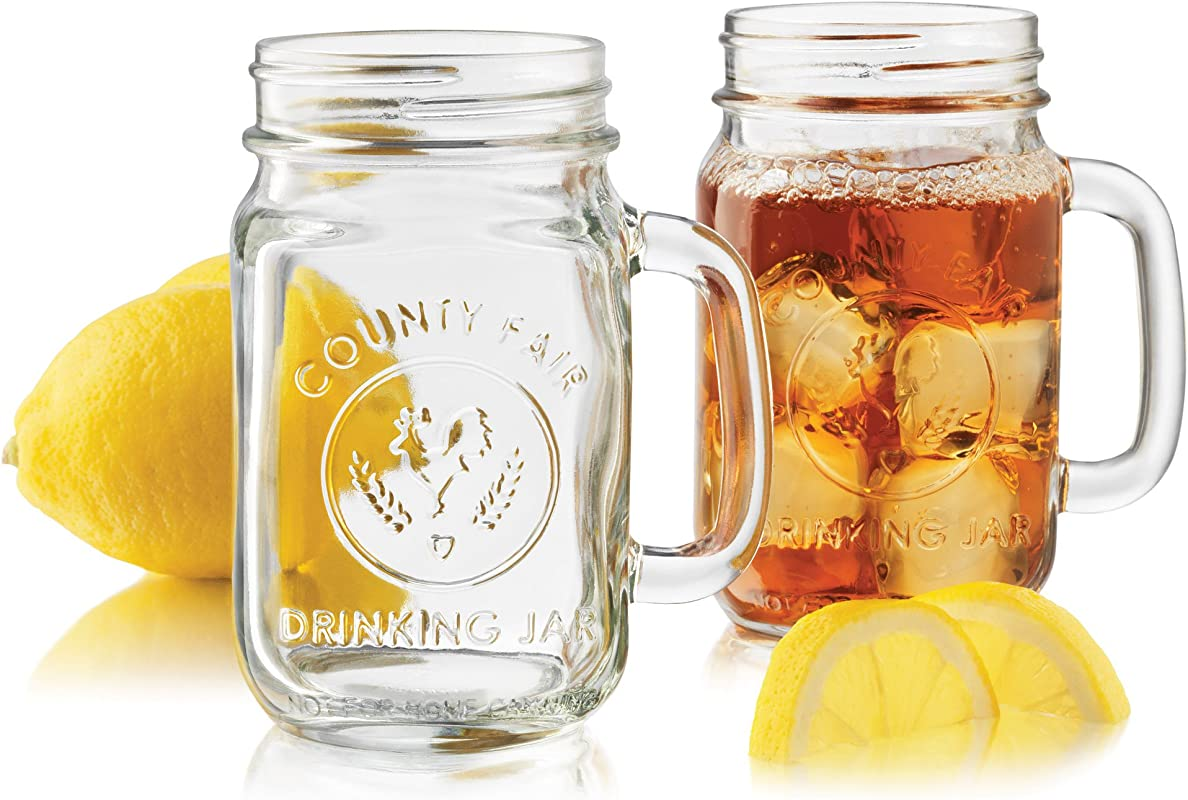Libbey Country Fair 4 Piece Drinking Jar With Handle 16 5 Ounce Clear