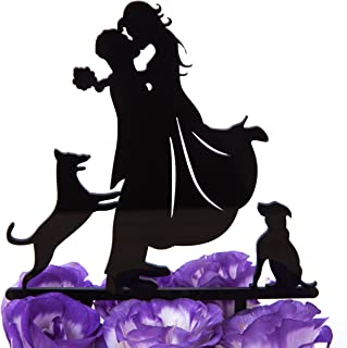 LOVENJOY with Gift Box Love Her Love Her Dogs Silhouette Acrylic Wedding Cake Toppers Decoration Black (5-inch)