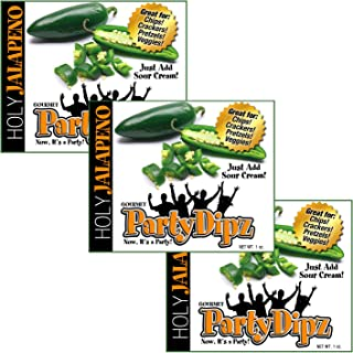 NEW ITEM: 3-Pak PartyDipz Holy Jalapeno Gourmet Dip Mix Packets Dips For Chips Dips For Spreads Bacon Dip Cheddar Dip Great Gift Idea