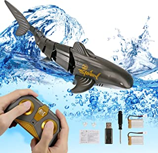 Carperipher Remote Control Shark Toy 2.4Ghz, 1:18 Scale High Simulation Rechargeable Shark Toys for 6+ Year Old Kids Adult...