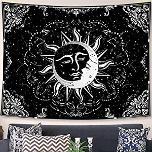 Accnicc Sun and Moon Tapestry Star Tapestries Black and White Tapestry Wall Hanging Burning Sun Embraces Sweet Moon Mystic Aesthetic Wall Tapestry for Bedroom Dorm Living Room (Black, 60'' × 50'')