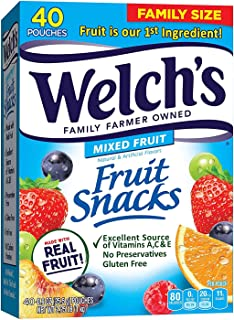 Welch's Fruit Snacks, Mixed Fruit, Gluten Free, Bulk Pack, 0.9 oz Individual Single Serve Bags (Pack of 40) (Bundle Pack)