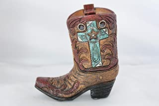 Rain bow Mini Western Rustic Hand Tooled Leather Look Cross Cowboy Cowgirl Boot Vase Toothpick Pen Holder Home Office Decoration