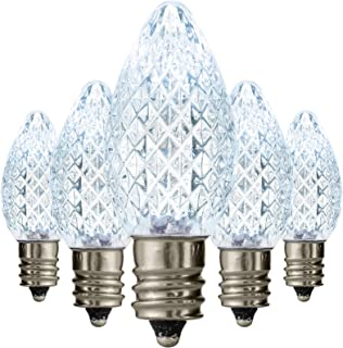 Holiday Lighting Outlet Faceted C7 Christmas Lights | Cool White LED Light Bulbs Holiday Decoration | Warm Christmas Decor For Indoor & Outdoor Use | 2 SMD LEDs in Each Light Bulb | Set of 25