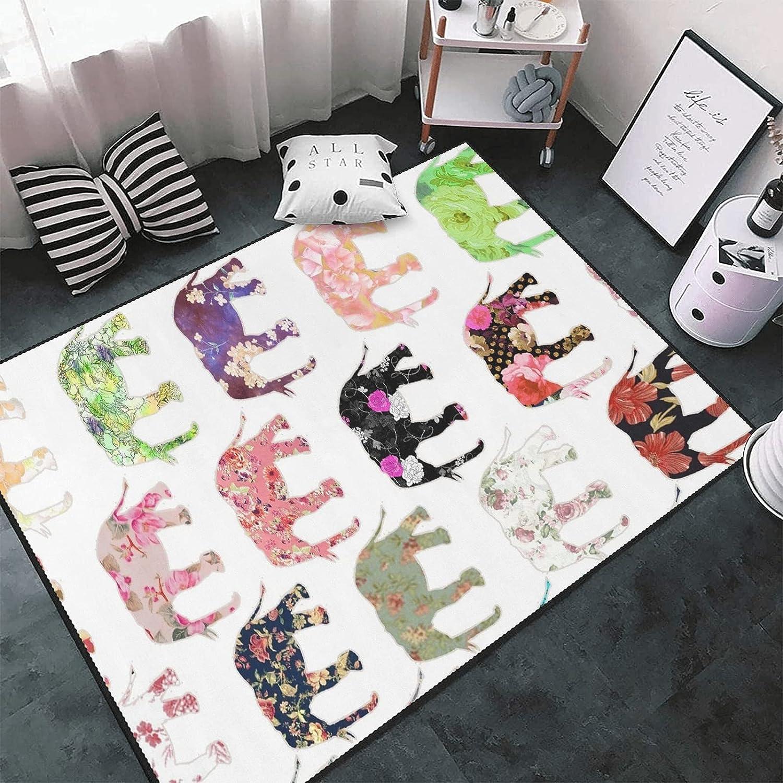 Retro Floral Elephants Area Rug Max 40% OFF Carpet Mat Max 62% OFF Yoga Floor E Non-Skid