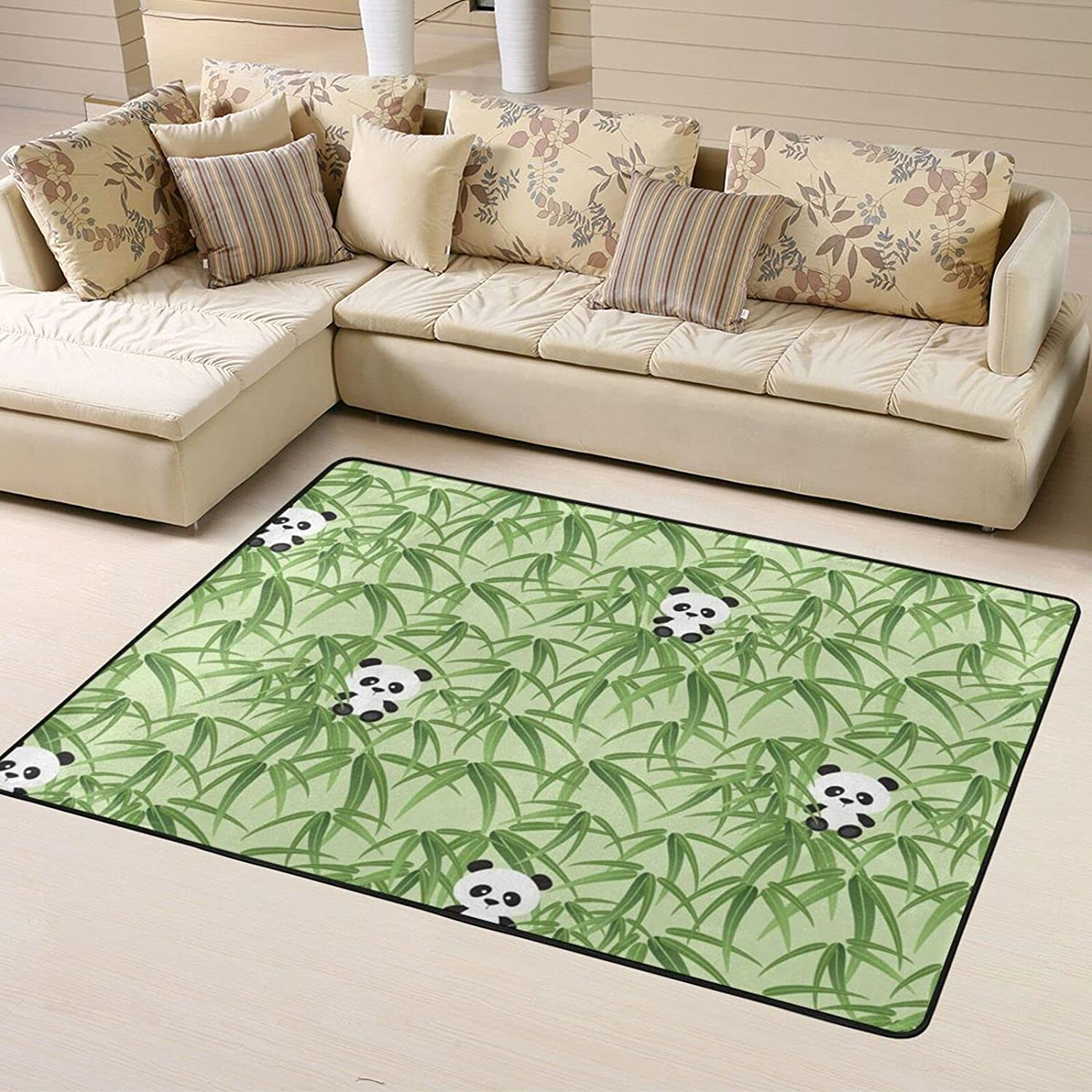 Recommended Cute Panda Bamboo Green Soft Area Bedroom Room Rugs for Living Safety and trust