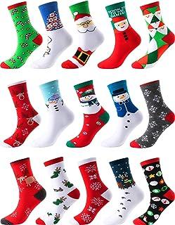 Sumind 15 Pairs Christmas Socks Christmas Holiday Socks Colorful Fun Cotton Crew Socks for Novelty Gifts