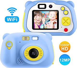 Cámara para Niños con Tarjeta TFCámara Digitale Selfie para NiñosVideo cámara Infantil con Pantalla de 2 PulgadasHD 1200 MP/1080P Doble Objetivoa Prueba de GolpesCarcasa de Silicona (Azul)