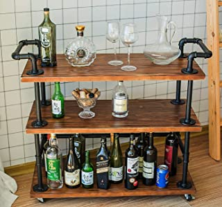 DOFURNILIM Bar Carts/Serving Carts/Kitchen Carts/Wine Rack Carts on Wheels with Storage - Industrial Rolling Carts - 3 Tiers Wine Tea Beer Shelves/Holder - Solid Wood and Metal
