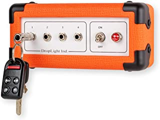 Droplight Ind. Handcrafted Guitar Amp Wall Key Holder with 4 Keychains. The Key Board Mini. Amp Inspired. American Made (Orange)