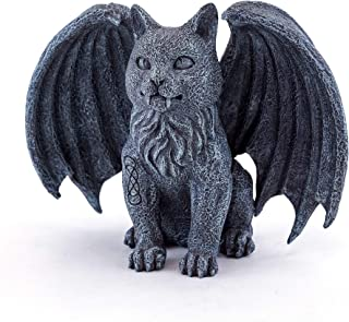 Top Collection Medieval Gargoyle Statue with Celtic Infinity Knot Tattoo - Hand Painted Winged Cat Sculpture with Stone Finish Look- 5-Inch Collectible Gothic Fantasy Figurine