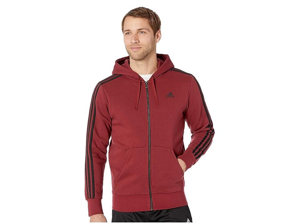 adidas Essentials 3-Stripes Fleece Hoodie (Noble Maroon/Black) Men