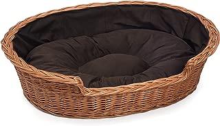 Prestige Wicker HnadMade Wicker Cat Dog Bed Basket with Pillow