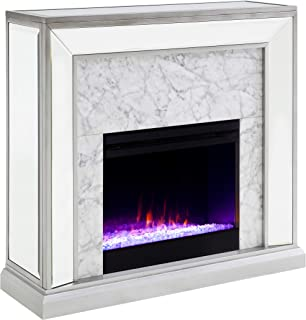 Furniture HotSpot Trandling Mirrored Faux Stone Fireplace with Color Changing Firebox