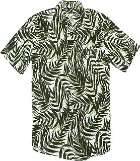 American Eagle Men's Seriously Soft Button Down Print Shirt (Medium, Leaves)