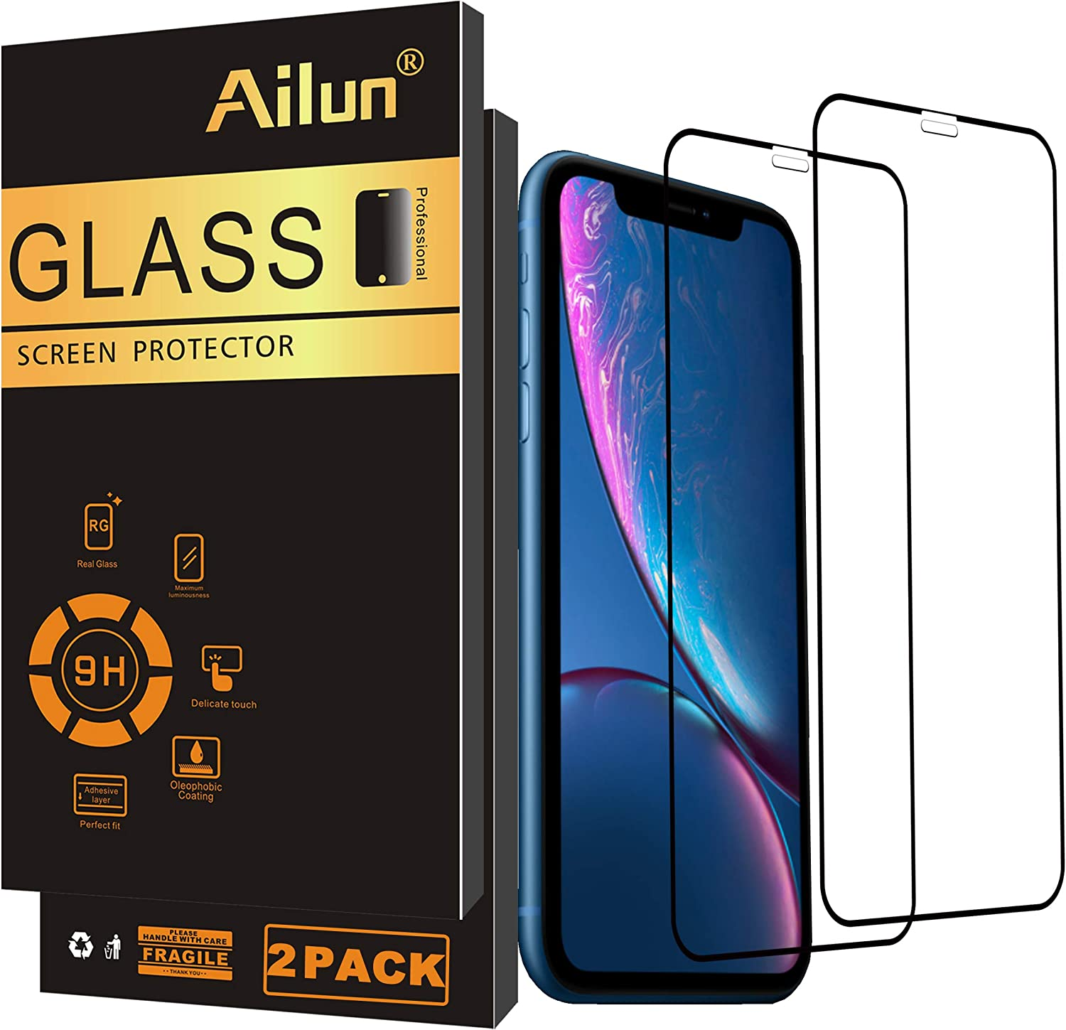 Ailun Screen Protector Compatible for iPhone 11/XR 6.1Inch 2019/2018 Release 2Pack Tempered Glass Full Notch Coverage