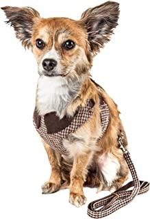 Pet Life ® Luxe 'Houndsome' 2-In-1 Mesh Reversible Plaided Collared Adjustable Dog Harness-Leash, X-small, Brown