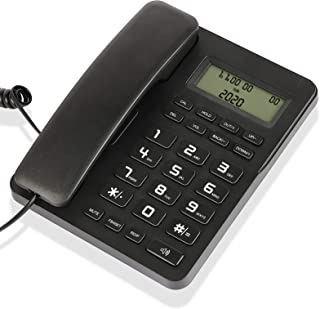 Desktop Corded Telephone, Wired Landline Phone for Home/Hotel/Office, Adjustable Volume, 3 Adjustable Levels of Screen Con...