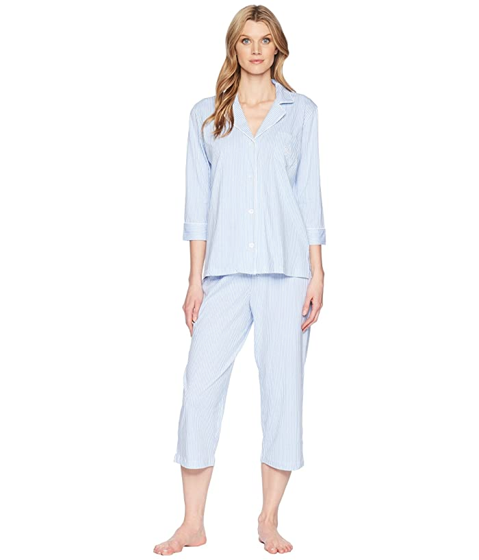 LAUREN Ralph Lauren Essentials Bingham Knits Capri PJ Set (French Blue Stripe) Women