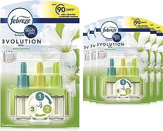 Febreze Ambi Pur 3Volution Air Freshener Plug-In Diffuser Refill, 120 ml (20 ml x 6), Odour Eliminator, White Jasmine