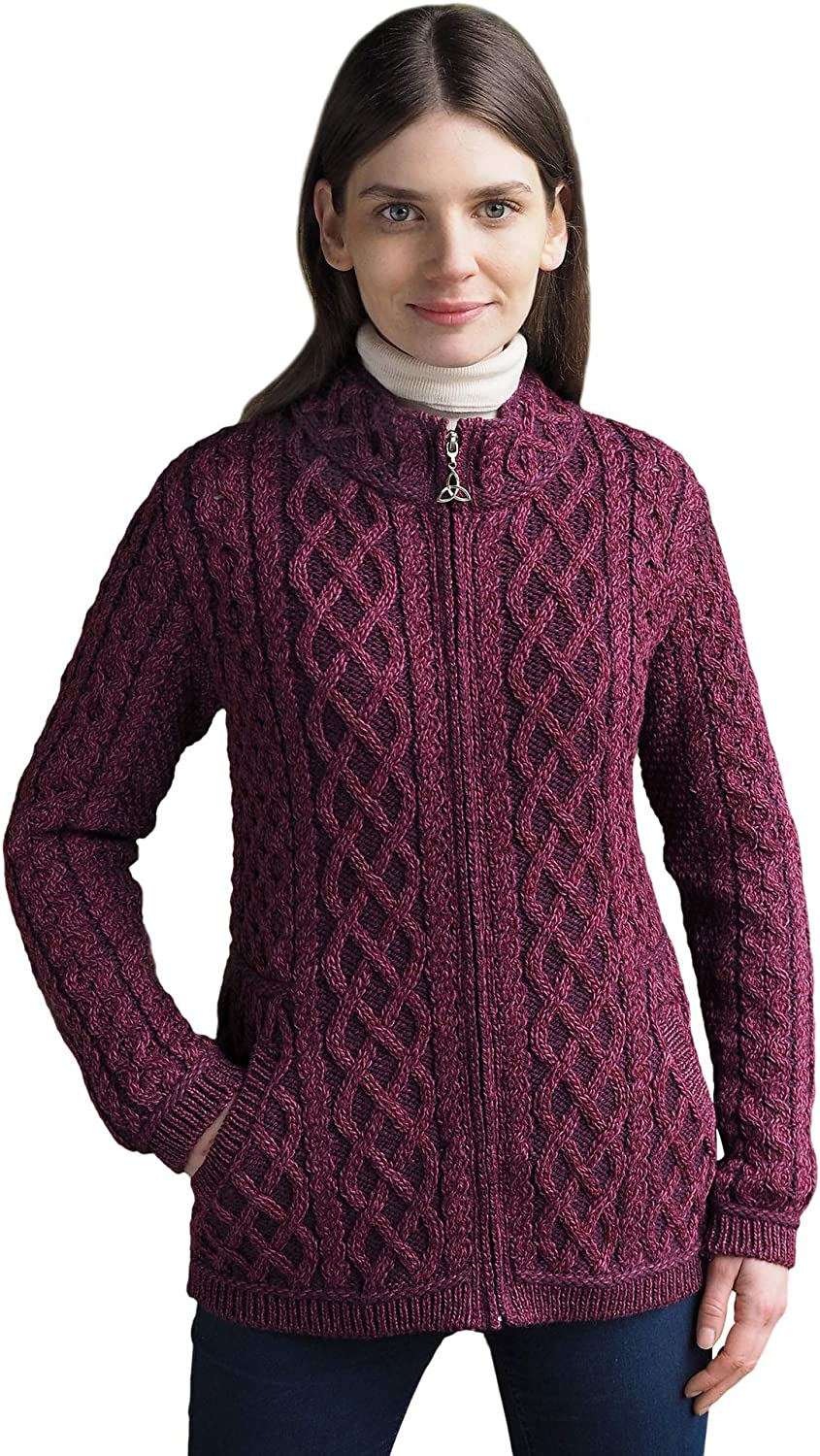 West End Ladies Traditional Irish 100% Merino Wool Plated Zip Cardigan with Pockets