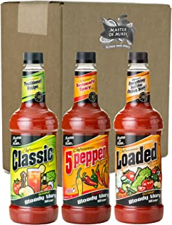Master of Mixes Bloody Mary Variety Pack, 1 Liter Bottles (33.8 Fl Oz), Pack of 3 Flavors