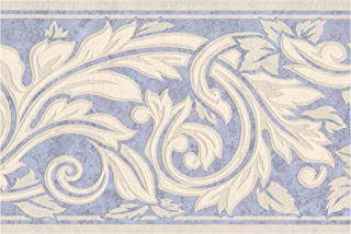 Wall Border - Cream White Damask Vines and Leaves on Mauve Blue Wallpaper Border Retro Design, Prepasted Roll 15 ft. x 7 in.