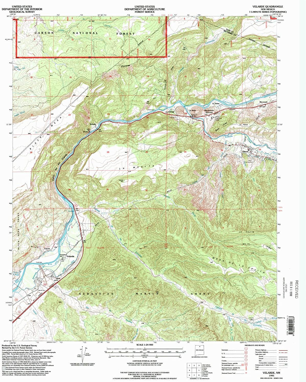 Velarde NM topo map, 1 24000 Scale, 7.5 X 7.5 Minute, Historical, 1995, Updated 1998, 27 x 22.1 in
