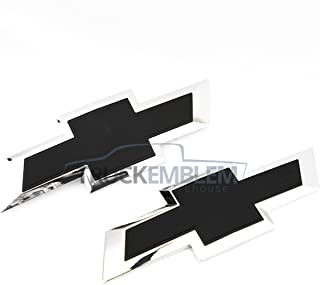 Truck Emblem Warehouse 2 New Custom Black & Chrome Silverado 2014-2015 Grill Tailgate Bow TIE Set
